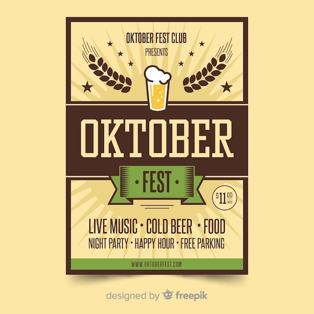 Flat design oktoberfest poster template Vector | Free Download