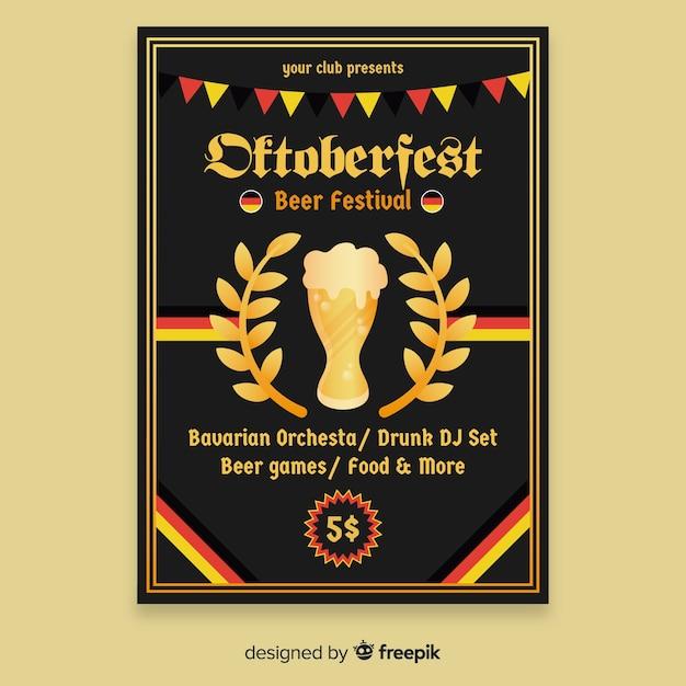 Flat design oktoberfest poster template Free Vector