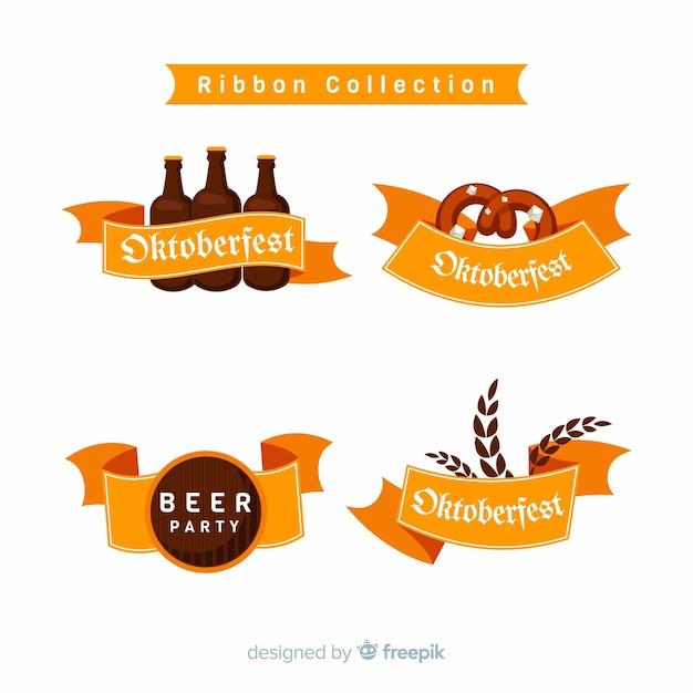 Flat design oktoberfest ribbon collection Free Vector
