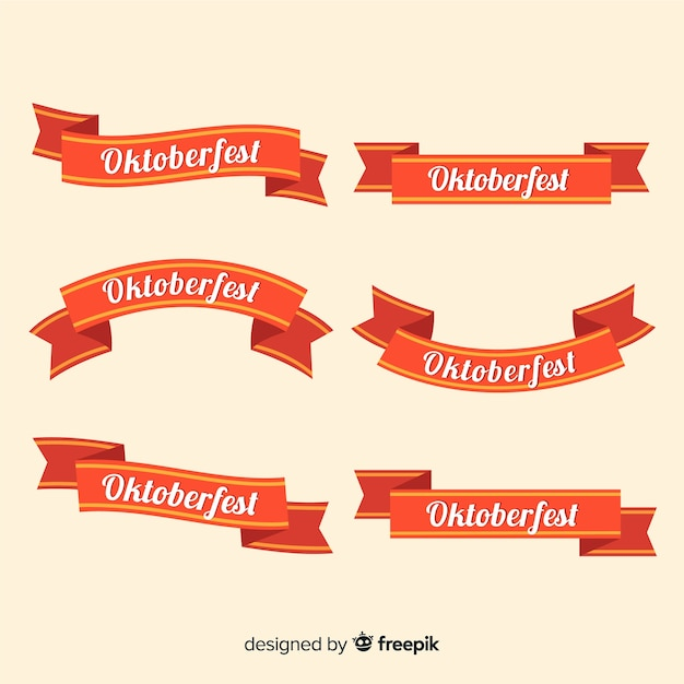 Flat design oktoberfest ribbon collection Free Vector