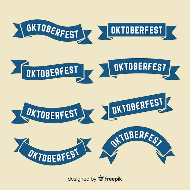 Flat design oktoberfest ribbon collection Premium Vector