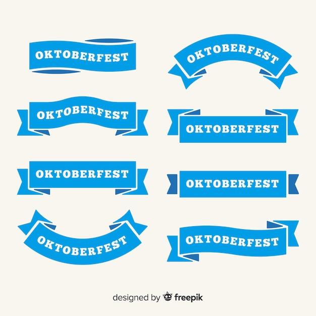 Плоский дизайн коллекции ленты октоберфест Premium векторы