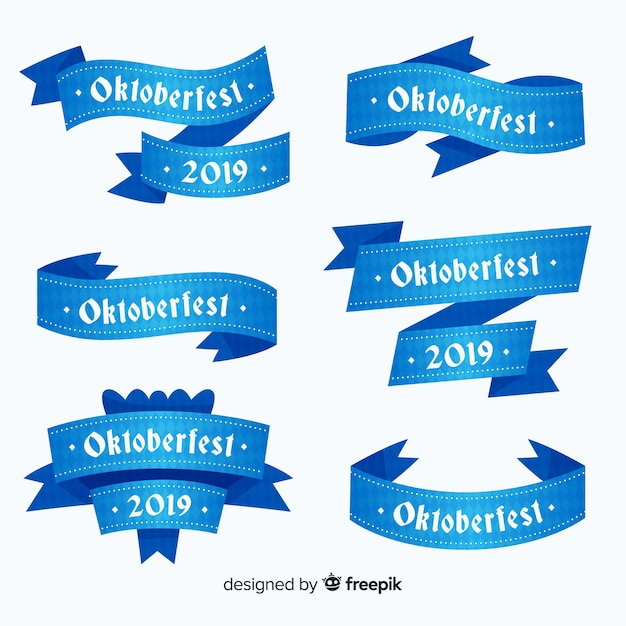 Flat design oktoberfest ribbons collection Free Vector