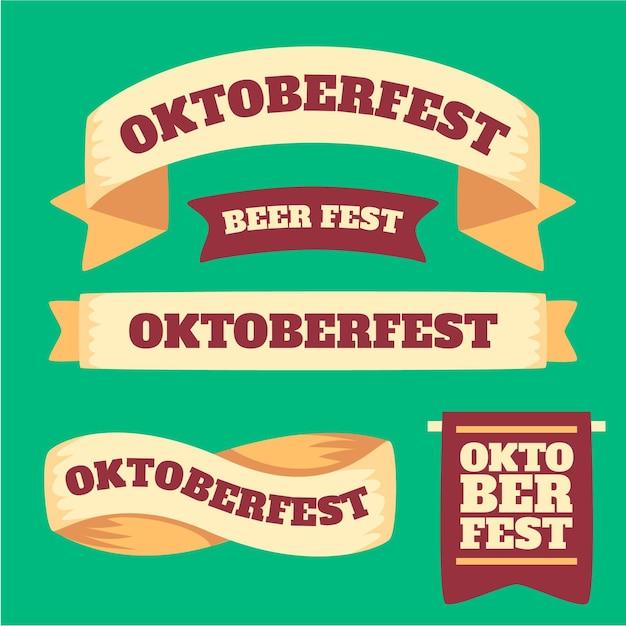 Collezione di nastri oktoberfest design piatto Vettore gratuito