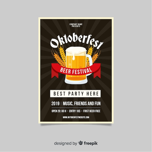 Flat design oktoberfest template Vector | Free Download
