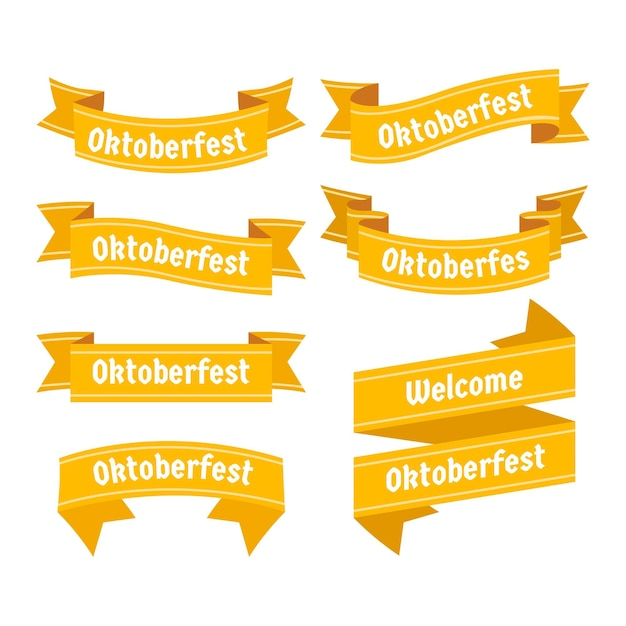 Flat design oktoberfest yellow ribbons Free Vector