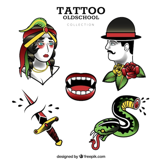 Flat Design Old School Tattoo Collection Vector Free Download