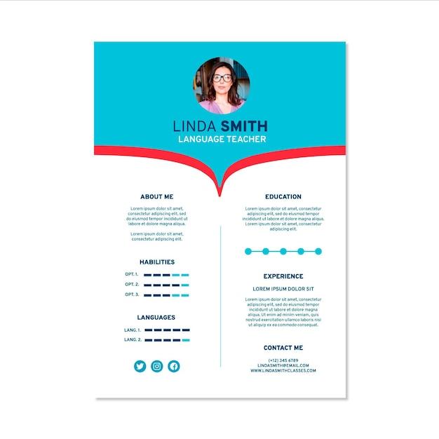 Flat design online cv template Free Vector