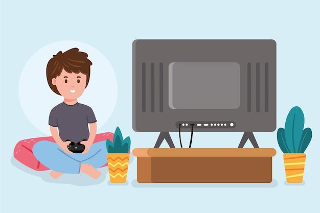 Плоский дизайн концепции онлайн-игр с мальчиком Бесплатные векторы