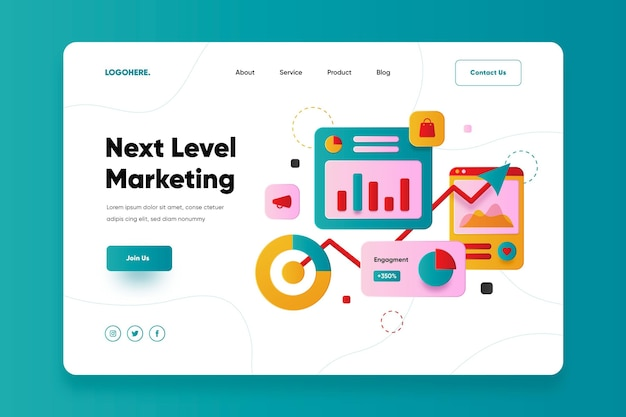 Flat design online marketing landing page Premium Vector