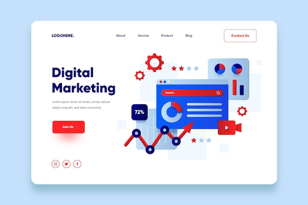 Flat design online marketing landing page Free Vector