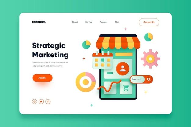 Flat design online marketing landing page Free Vector
