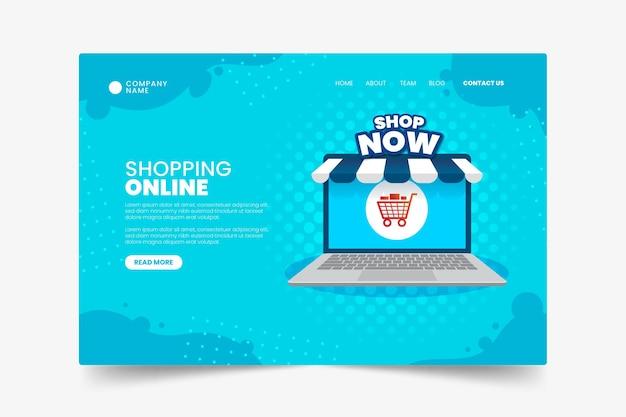 フラットなデザインのオンラインショッピングのランディングページテンプレート Premiumベクター
