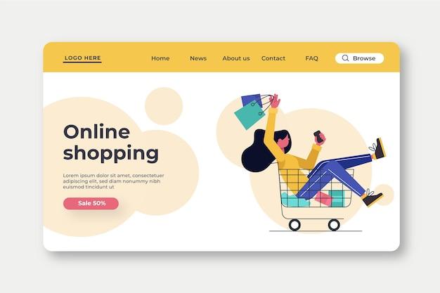 フラットなデザインのオンラインショッピングのランディングページテンプレート 無料ベクター