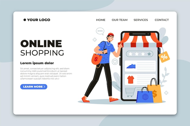 Flat design online shopping landing page Free Vector
