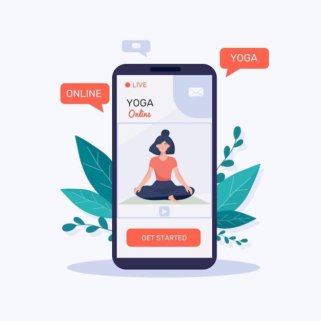 Flat Design Online Yoga Class Concept Free Vector