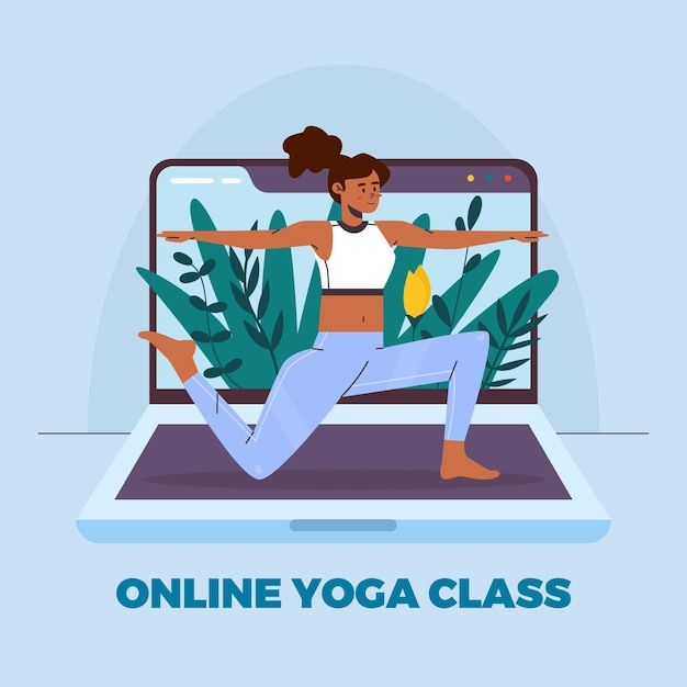 Download This Free Vector Flat Design Online Yoga Class Style