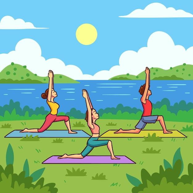 Flat design open air yoga class illustration Free Vector