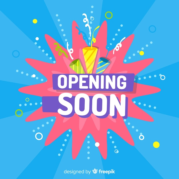 Flat design opening soon with party hats Free Vector