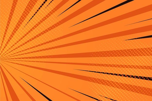 Sfondo di fumetti arancione design piatto Vettore gratuito
