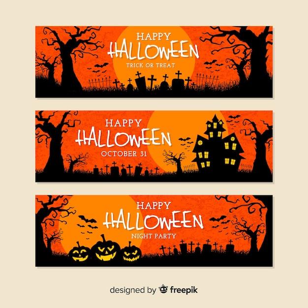 Flat design of orange halloween banners Free Vector