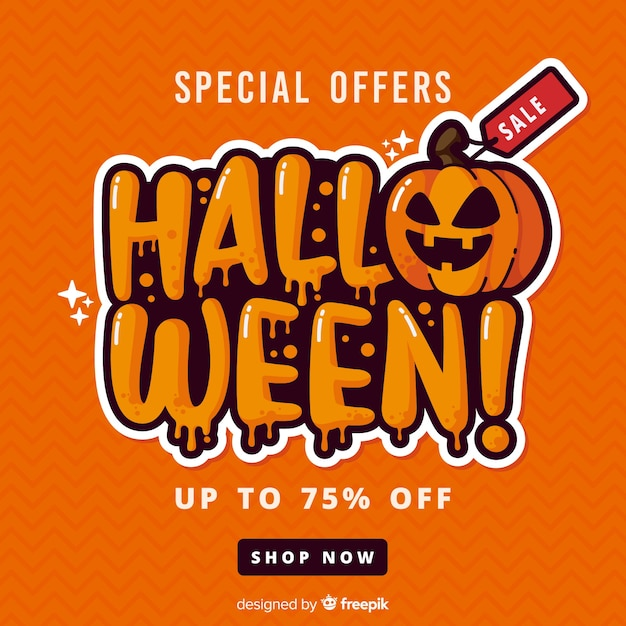Flat design of orange halloween sale Free Vector