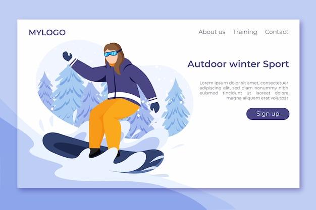 Flat design outdoor sport template landing page Free Vector