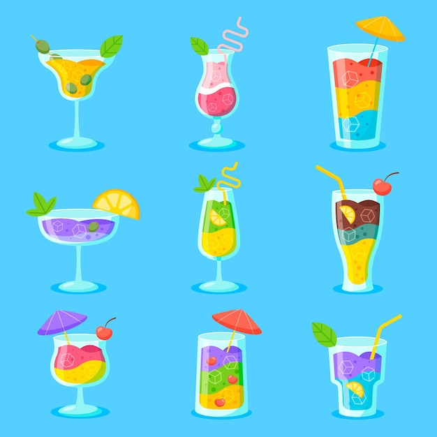 Flat design pack of delicious cocktails Free Vector
