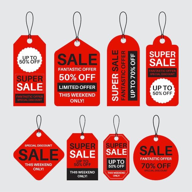할인 판매 태그의 평면 디자인 팩 무료 벡터