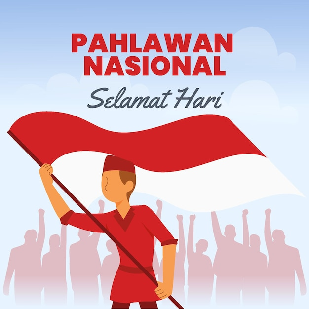 Flat design pahlawan day Premium Vector