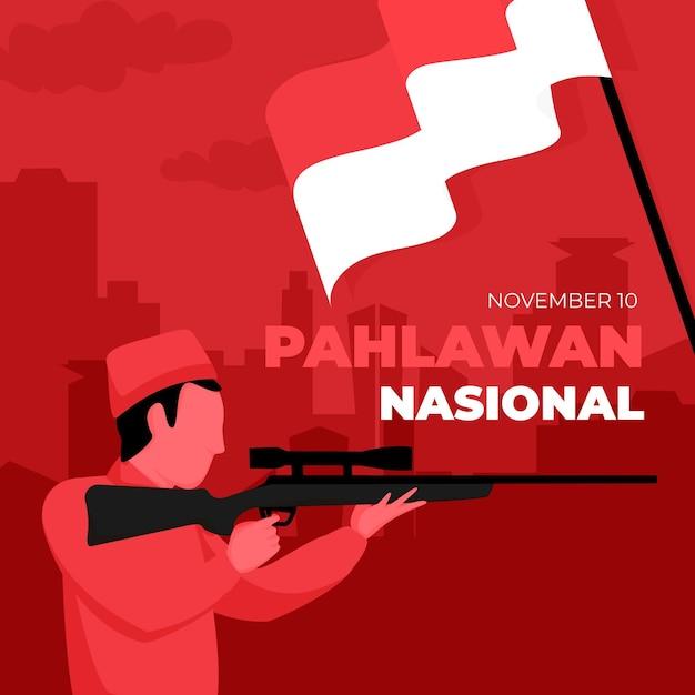 Flat design pahlawan day Premium Vector