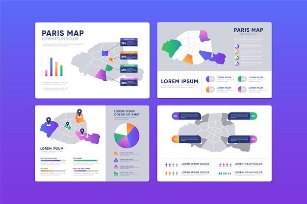 Design piatto parigi mappa infografica Vettore gratuito
