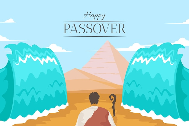Flat design passover event Free Vector