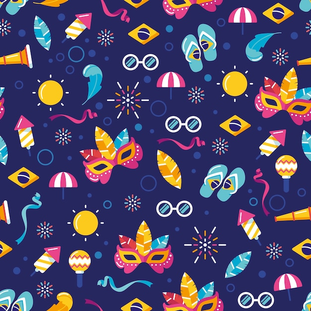 Flat design pattern with carnival elements Free Vector