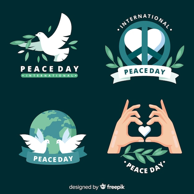 Flat design peace day badge collection Free Vector