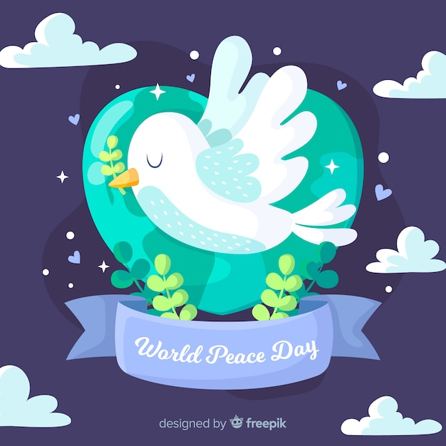 Flat design peace day dove flying Free Vector