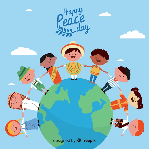 Flat design peace day with children Free Vector