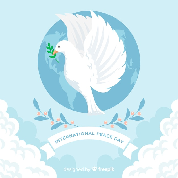 Flat design peace day with dove Free Vector