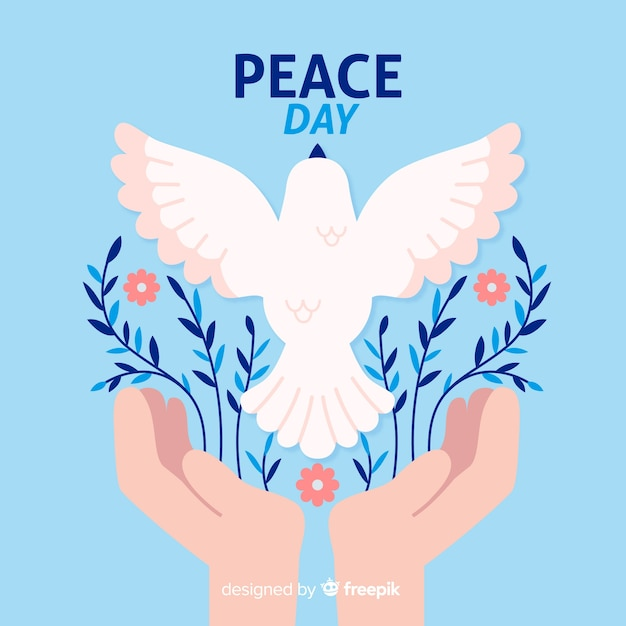 Flat design peace day with a dove Free Vector