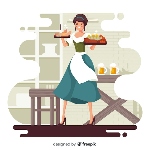 Flat design people celebrating oktoberfest Free Vector
