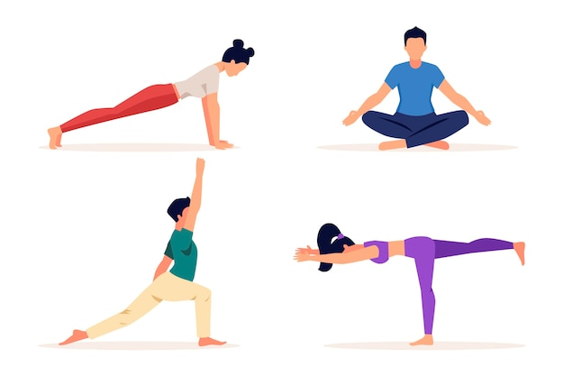 Flat design people doing yoga Premium Vector