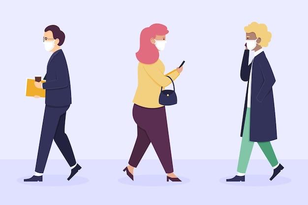 Плоские люди дизайна возвращаются к работе с маской для лица Бесплатные векторы