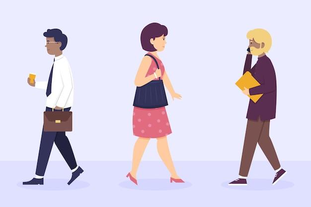 Плоские люди дизайна возвращаются к работе Бесплатные векторы