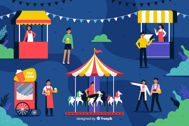 Flat design people at night carnival Free Vector