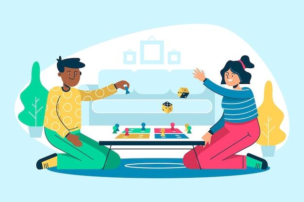 Persone di design piatto che giocano ludo illustrazione del gioco Vettore gratuito