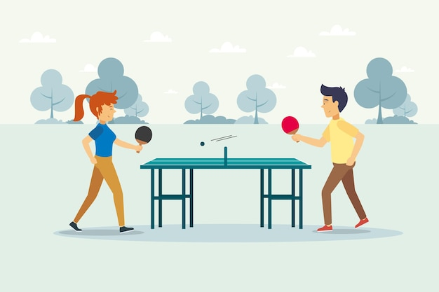 Flat design people playing table tennis illustration Free Vector