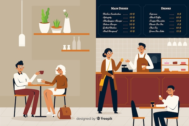 Flat design people sitting at cafe Free Vector