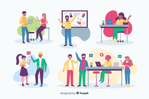 Flat design people working at the office Free Vector