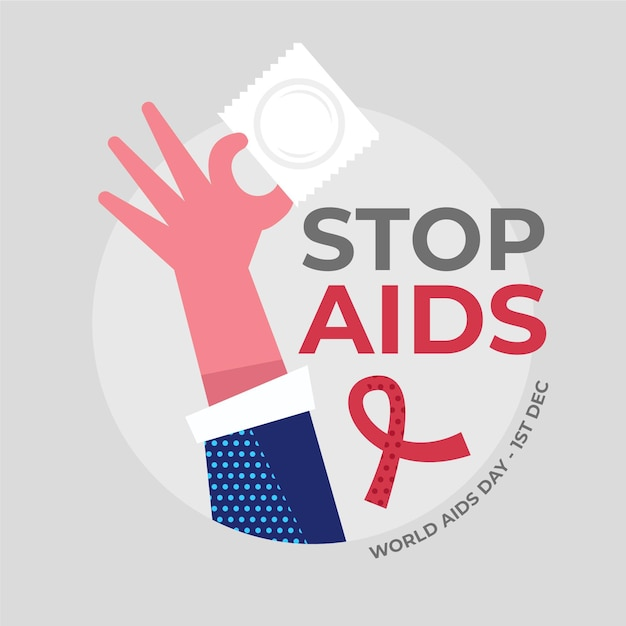 Flat design of person holding a condom on aids day illustration Free Vector