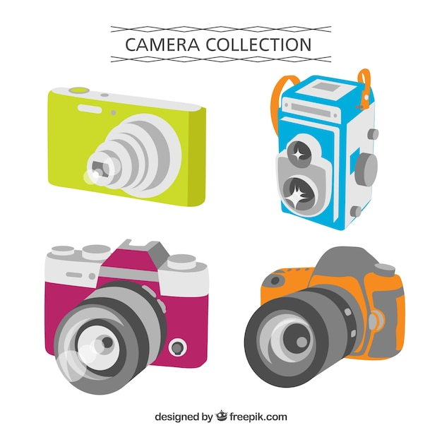 Flat design perspective camera collection